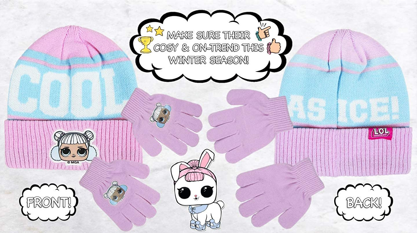 Features Snow Angel Doll Adorable Knit Beanie Hat Warm Cosy Winter Gloves | L O L Surprise! Girls Kids 2 Piece Cute Hat /& Gloves Set