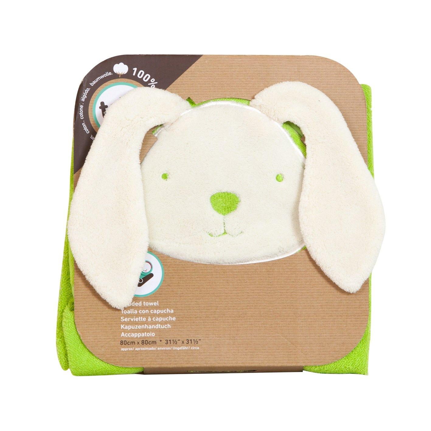 CPC by Smartrike 180-103 la alegr/ía de la toalla con capucha colour verde en caras divertidas dise/ño de conejo 80 x 80 cm 100 por ciento suave rizo de algod/ón