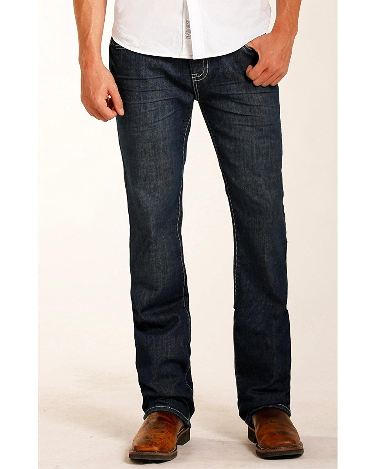 Rock /& Roll Cowboy Mens and Pistol Flame Resistant Jeans Straight Leg Blue 42W x 30L