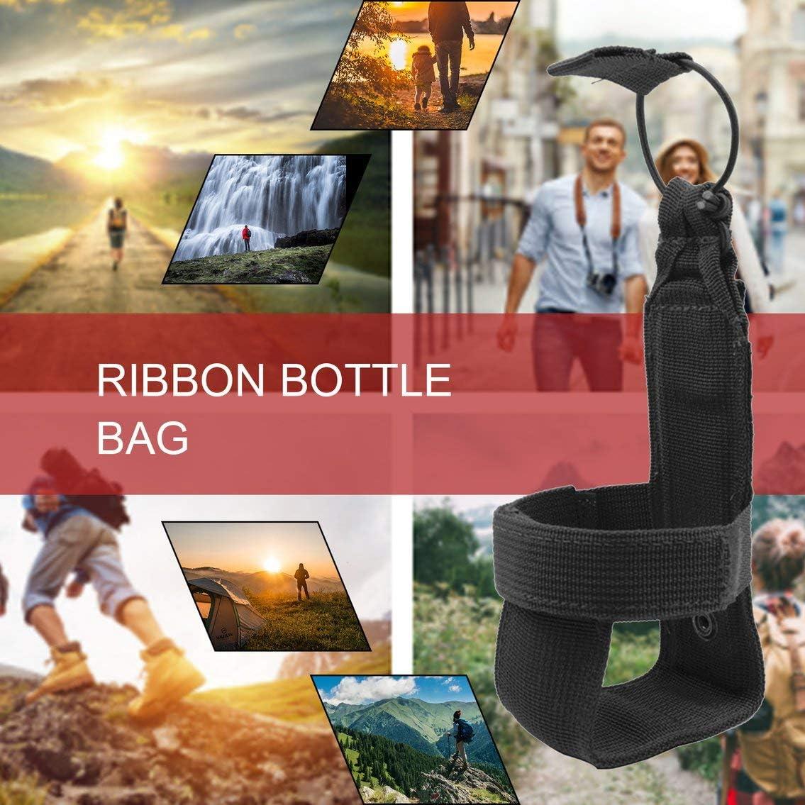 Panamami Bolsa de Botella de Agua táctica Nylon Cinta mágica Ajustable Funda de cantimplora Militar Funda de Viaje Bolsa de Caldera de Viaje al Aire Libre - Negro