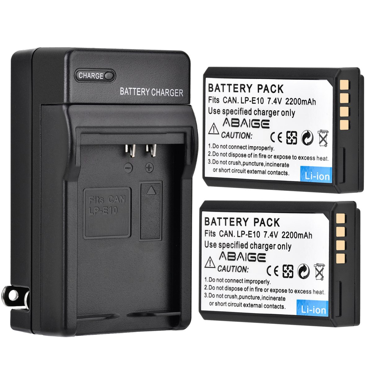 Abaige Pack of 2 LP-E10 2200mAh Replacement Batteries with Battery Charger & AC Charger for EOS Rebel T3, T5, T6, Kiss X50, Kiss X70, EOS 1100D, EOS 1200D, EOS 1300D Digital SLR Camera by Abaige