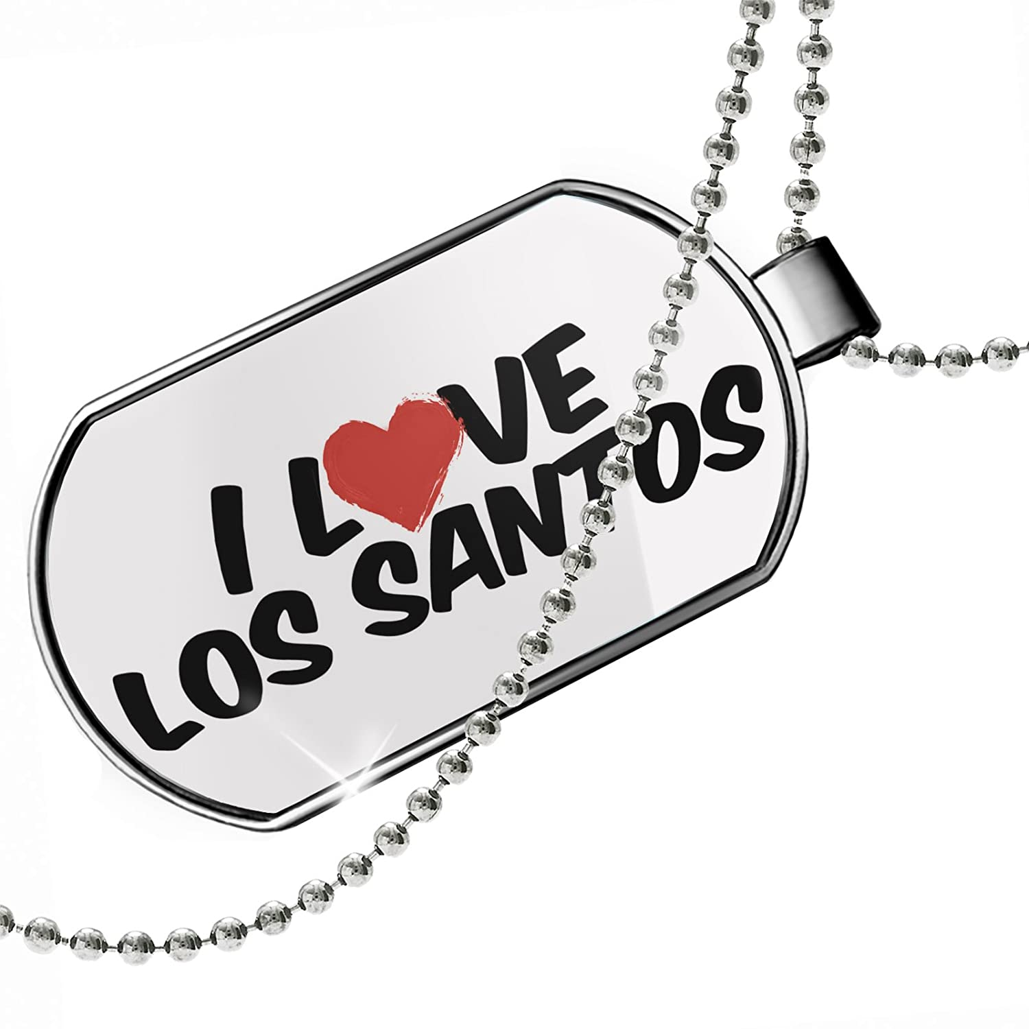 NEONBLOND Personalized Name Engraved I Love Los Santos Dogtag Necklace
