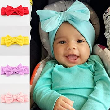Baby Girls Infant Toddler Bow Headband Hair Band Accessories Turban Head Wrap