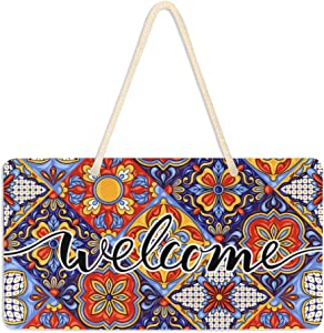 WELLDAY Hanging Plaque Welcome Sign Mexican Talavera Pattern Porch Front Door Wall Decor for Home