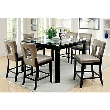 Superb Furniture Of America Vanderbilte 9 Piece Glass Inlay Counter Height Dining  Set   Black