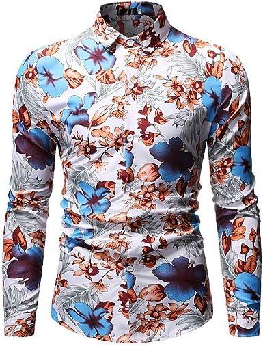 Camisa Estampada para Hombre de Vacaciones Slim fit cómodo Shirt de Playa Causal Camisas con Estampado Top de Manga Larga con Botones de Solapa: Amazon.es: Ropa y accesorios
