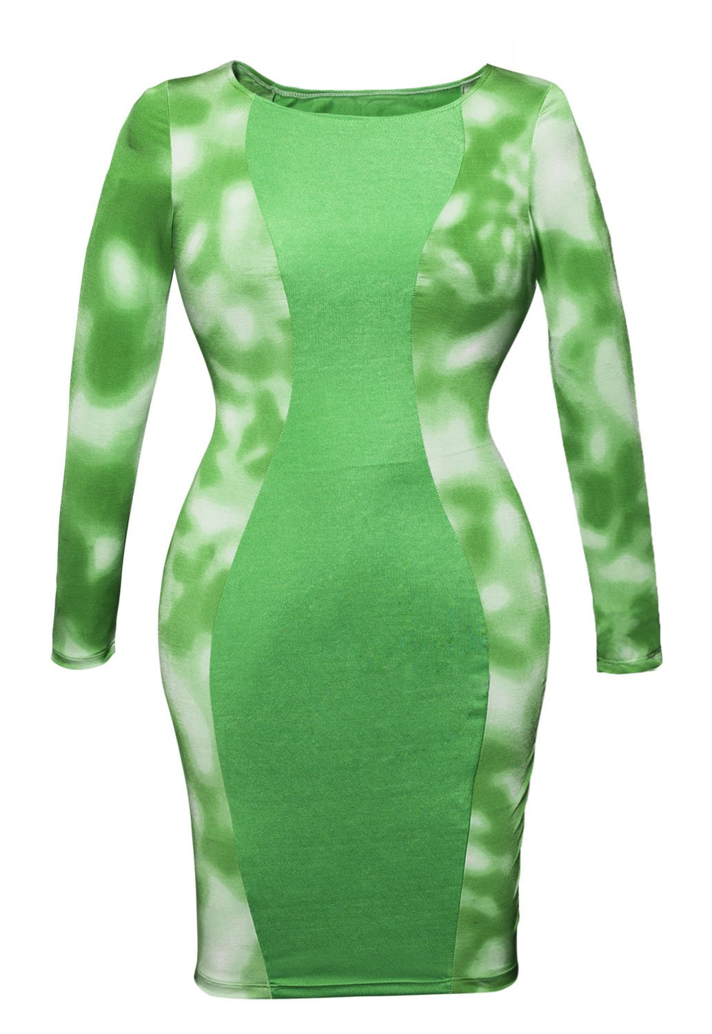 Bright Green Tie Dyed lati corpo con mini vestito Club Wear party taglia M 10–12