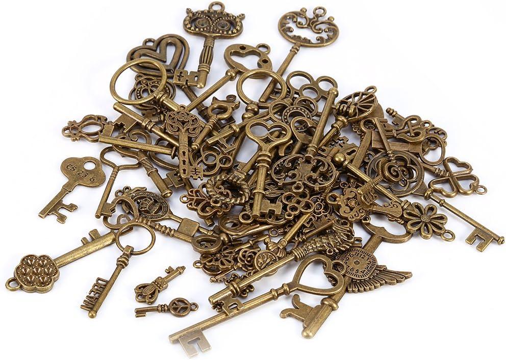 69pcs Assorted Antique Vintage Old Look Large Bronze Skeleton Keys Lot Charm Pendant Fancy Heart Bow Jewelry