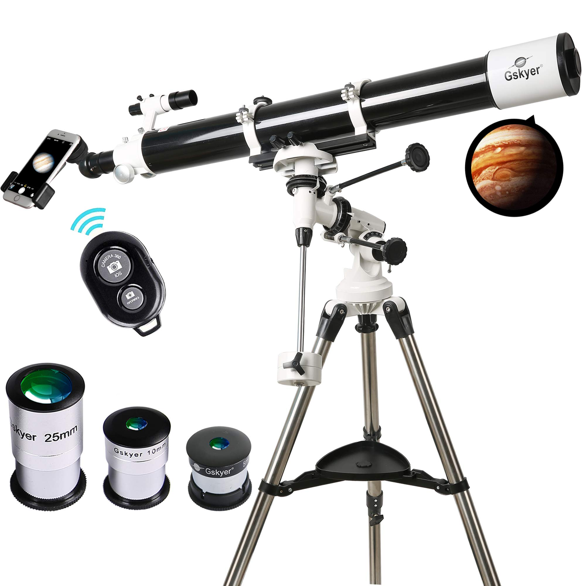 Telescope, 90mm Astronomy Refractor Telescopes with Smartphone Adapter & Wireless Camera Remote - Perfect for Children Educational and Gift by Gskyer