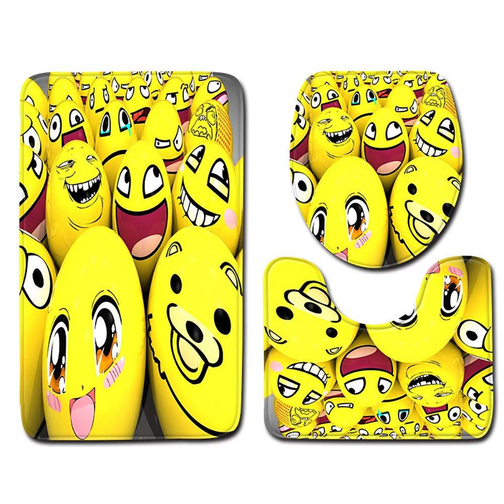 Amazon Com 3pcs Non Slip Funny Emoji Bath Mat Toilet Seat Cover And