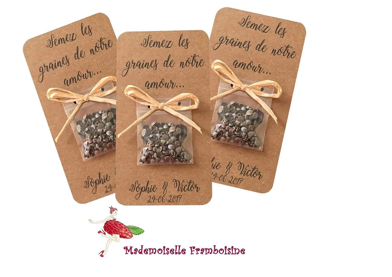 Carte sachet de graines, semez les graines de notre amour, Lot de 10, Cadeaux invités, mariage champetre, naturel, kraft naturel et raphia