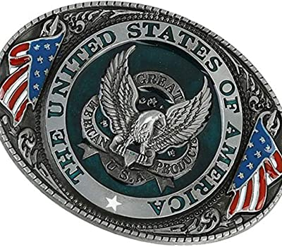 Western style U.S.A American flag eagle metal alloy fashion Men Belt Buckle UA!