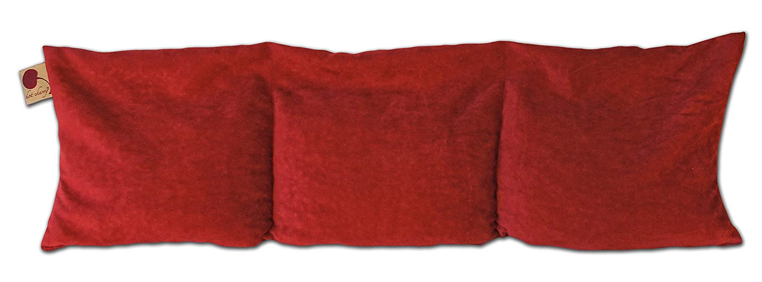 Hot Cherry Pit Pillow Triple Square Pillow (Red Ultra Suede (Unwrapped/Lowest Price) Natural Moist Heat Relieves Muscle Pain, Tension Relief, Headaches, Arthritis, Hot/Cold Therapy, Microwavable