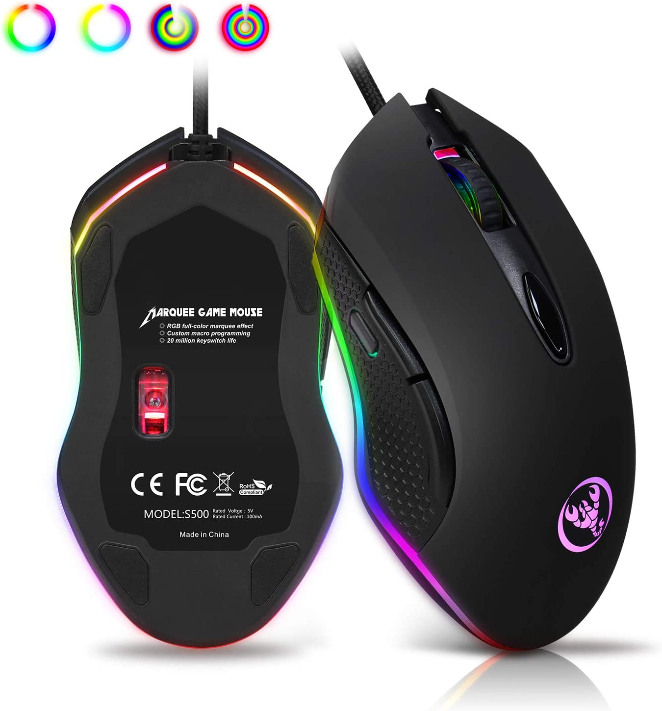 ANEWISH RGB Wired Gaming Mouse,6 Programmable Buttons,4 DPI Adjustable,Plug and Play, Ergonomic Optical Gaming Mice for PC,Computer,Laptop,Desktop,Windows