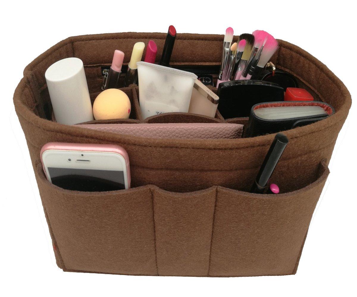 LEXSION Felt Insert Fabric Purse Organizer Bag, Bag Insert in Bag with Zipper Inner Pocket Brown XL by LEXSION (Image #4)