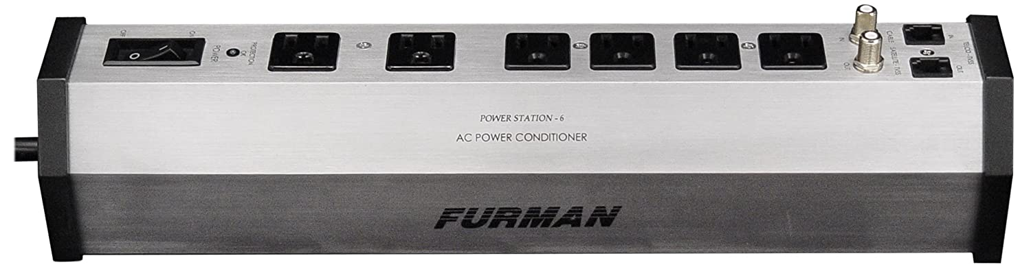 Furman PST-6 15-Amp Aluminum Chassis 6-Outlet Cable and Telco Protection Standard Level Power Conditioning Furman Pro