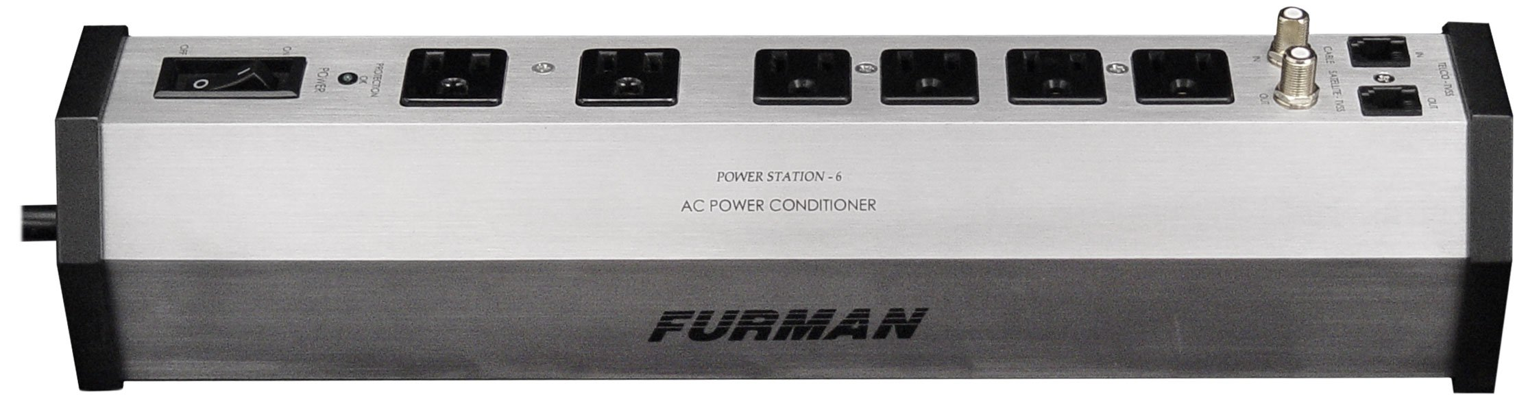 Furman PST-6 15-Amp Aluminum Chassis 6-Outlet Cable and Telco Protection Standard Level Power Conditioning by Furman