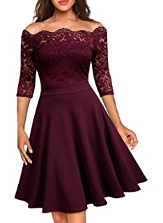 119696722459 MISSMAY Women's Vintage Floral Lace Half Sleeve Boat Neck Formal Swing Dress