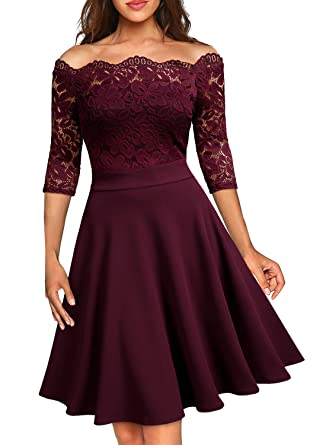 560855174bc MISSMAY Women's Vintage Floral Lace Half Sleeve Boat Neck Cocktail Formal  Swing Dress at Amazon Women's Clothing store: