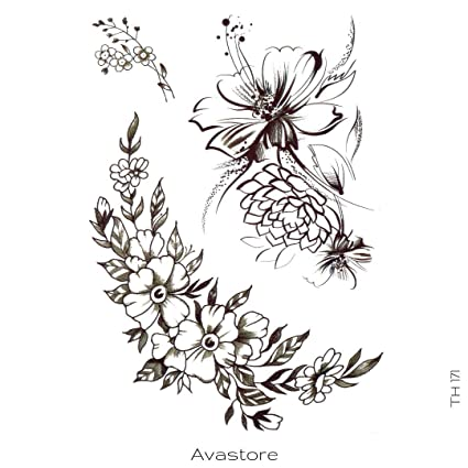 Tatouage Temporaire Fleurs Lotus Pivoine Amandier Coquelicot