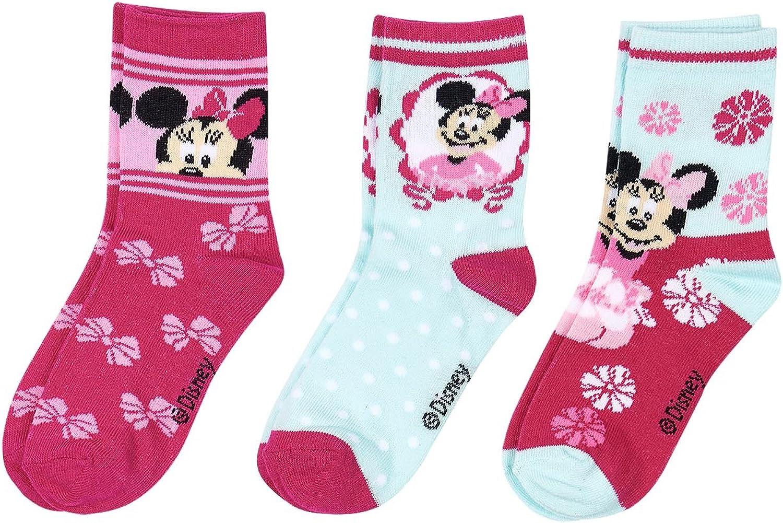 fucsia Disney Minnie Chicas Calcetines lote de 3
