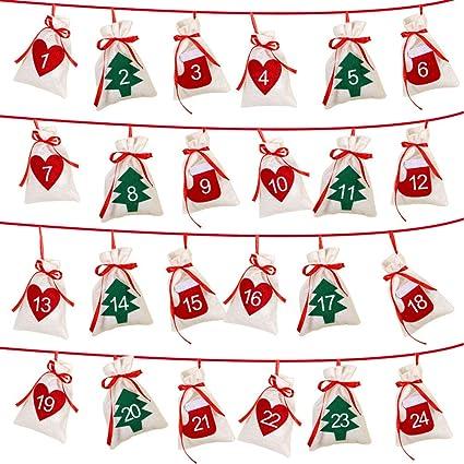 Christmas Countdown 2019.Aerwo Felt Christmas Countdown Advent Calendars 2019 24 Days Countdown Advent Calendar Garland Gift Bags For Holiday Party Christmas Decorations