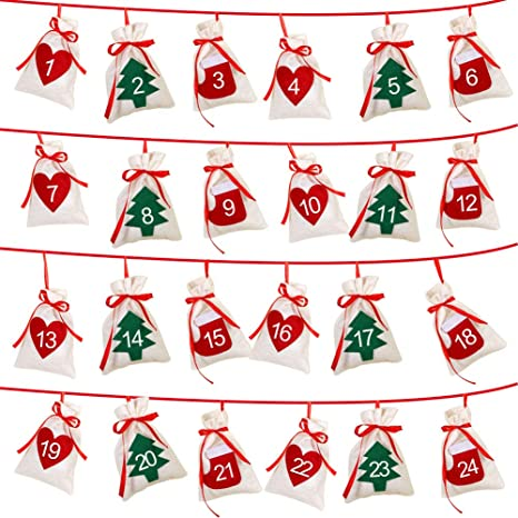 Christmas Count Down.Aerwo Felt Christmas Countdown Advent Calendars 2019 24 Days Countdown Advent Calendar Garland Gift Bags For Holiday Party Christmas Decorations