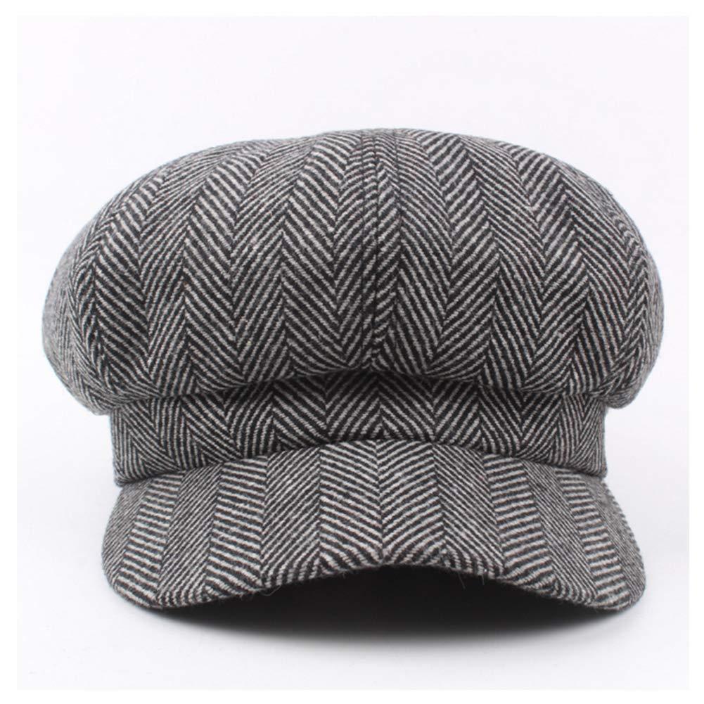 GESDY Unisex 8 Panel Octagonal Caps Winter Wool Newsboy Hats Stripe Beret Painter Hat