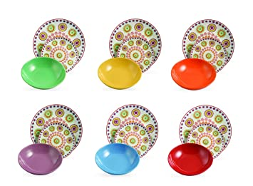 villa deste hippy servizio piatti in porcellana e gres multicolore set di