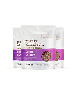 purely elizabeth Grain Free and Gluten Free Granola, Coconut Cashew, 0.8 Oz,Pack of 3 (311220)