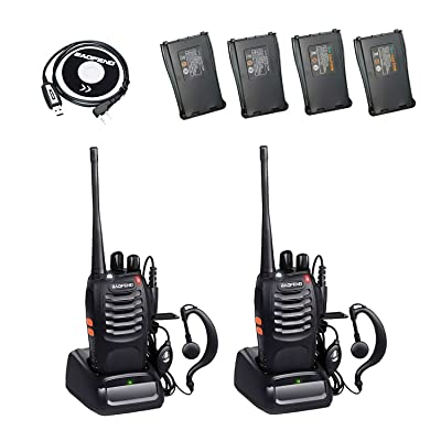 BaoFeng BF-888S 2 Way Radio with 4 1500mah Batteries and Earpiece Long Range Baofeng Walkie Talkie Two Way Radio (2 Pack) + One USB Programming Cable: Car Electronics