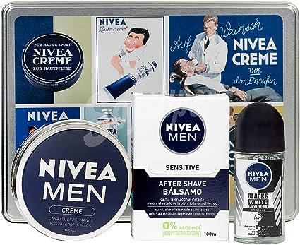 Nivea, Lote hombre corporal. Crema manos y cuerpo 150 ml + after shave bálsamo piel sensible 100 ml + desodorante roll on 50 ml: Amazon.es: Belleza