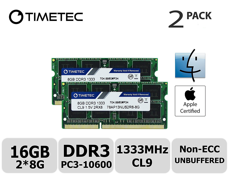 Timetec Hynix IC Apple 16GB Kit (2x8GB) DDR3 1333MHz PC3-10600 SODIMM Memory Upgrade For MacBook Pro 13-inch/15-inch/17-inch Early/Late 2011, iMac 21.5-inch Mid/Late 2011(16GB Kit (2x8GB)) by Timetec