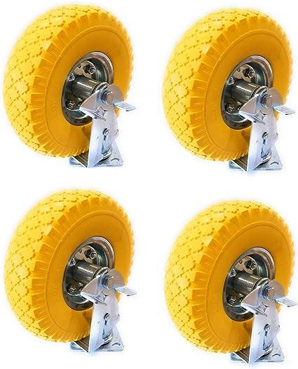 DWT-Germany 101443 4x 8 Lenkrollen Transportrollen Vollgummirad Schwenkrollen Laufrollen PU Schlachlos Pannenfrei