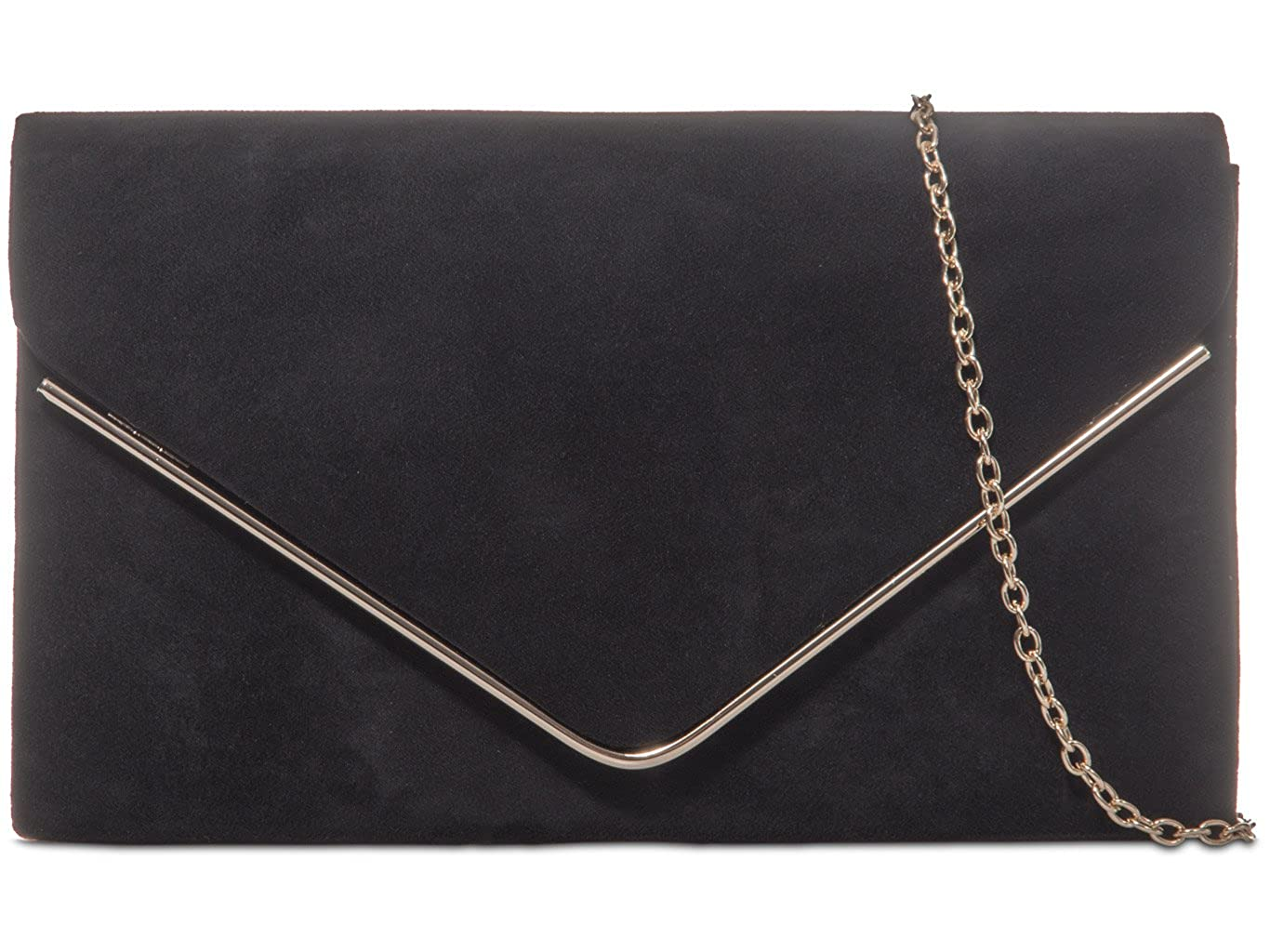 NEW BLACK /& GOLD EVENING DAY FAUX LEATHER  CLUTCH BAG XMAS PARTY CLUB SHOULDER