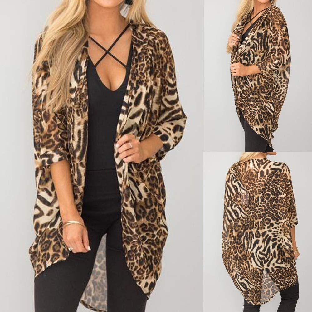 4bc91679a8ca Amazon.com: Women Blouse, Fashion Leopard Print Long Sleeve Refined Knit  Cardigan Kimono Tops (Brown, S): Arts, Crafts & Sewing