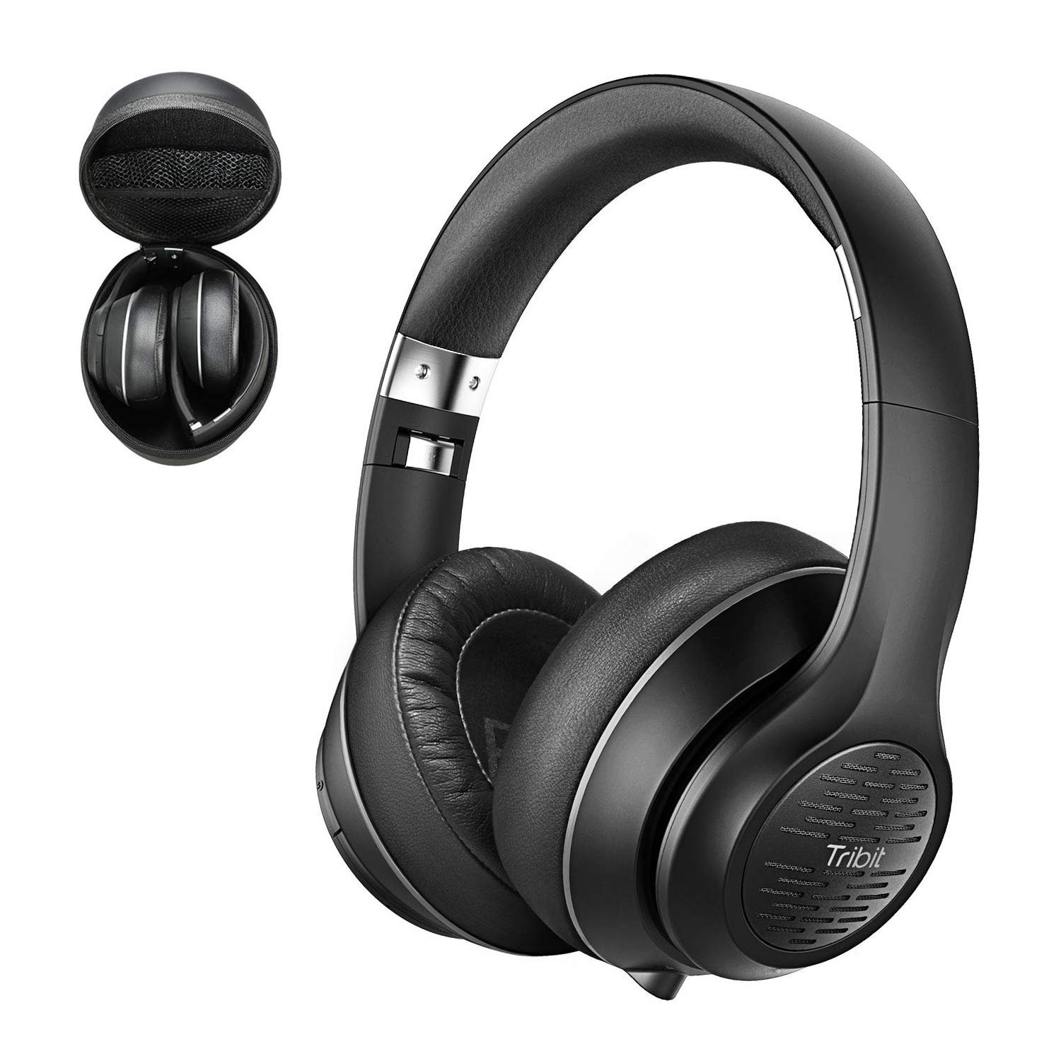 Tribit XFree Tune Bluetooth Headphones Over Ear - Wireless Headphones 40 Hrs Playtime, Hi-Fi Stereo Sound with Rich Bass, Built-in Mic, Soft Earmuffs - Foldable Headset with Carry Case, Black by Tribit