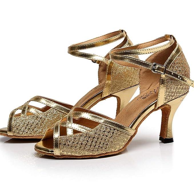 ae91bab7f5 XIAOY Scarpe da Ballo Latino Donna Personalizzate Oro Scintillanti ...