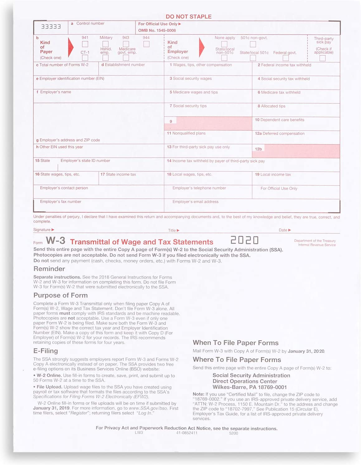 W3 Transmittal Tax Forms 2020, 10 Form W-3 Summary Laser Forms for Transmittal of Wage and Tax Statements, W-3 Forms, Compatible with QuickBooks and Accounting Software, 10 Pack : Office Products