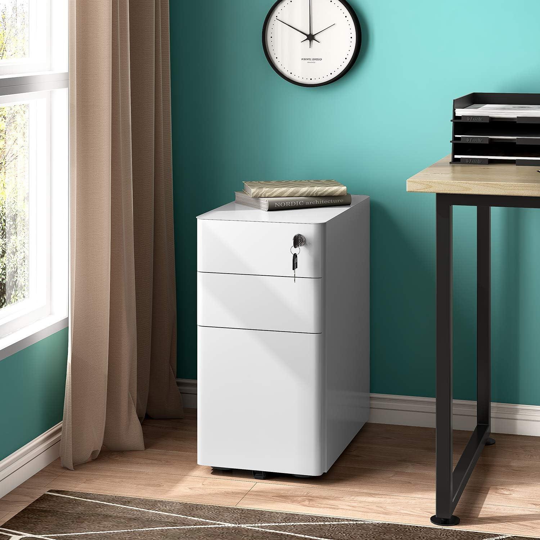 REYADE 3 Drawer Mobile File Cabinet, Slim Metal Office Storage Cabinet with Lock, Under Desk Office Pedestal File Cabinet, Fully Assembled, Suitable for Legal/Letter/A4 File, White: Kitchen & Dining