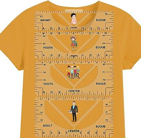 T-Shirt Alignment Ruler, 4 Pack T-Shirt Ruler Guide Set for V-Neck Round Neck Tshirt Design, T-Shirt Ruler Guide for Vinyl T-Shirt Craft Ruler Alignment Tool for Adult Youth Toddler Infant