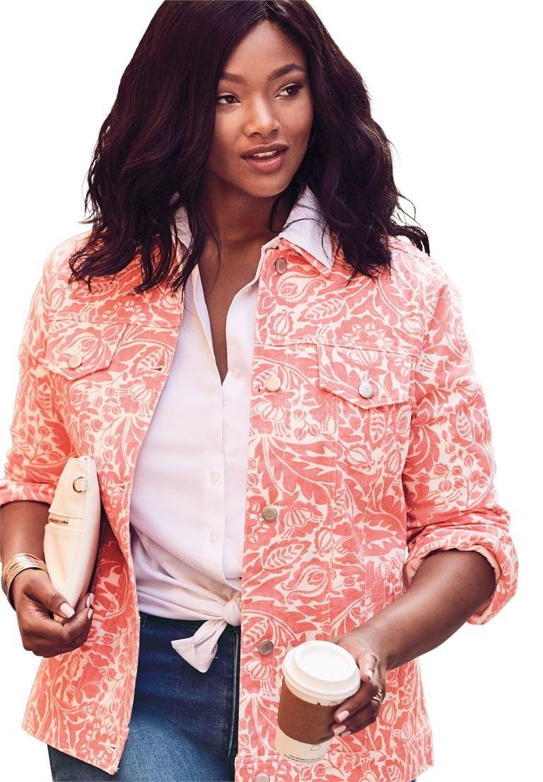 Jessica London Women's Plus Size Classic Cotton Denim Jacket Floral Tapestry,12
