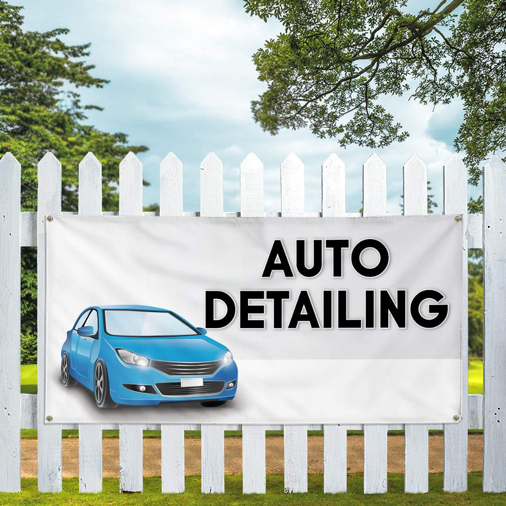 8 Grommets Vinyl Banner Sign Auto Detailing #8 Automotive Outdoor Marketing Advertising White Multiple Sizes Available 44inx110in One Banner
