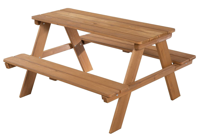 roba Kinder Outdoor Deluxe Sitzgruppe 'Picknick for 4', wetterfeste Sitzgarnitur für drinnen und draußen aus Massivholz in Teakholz-Optik, besonders stabil und langlebig, braun