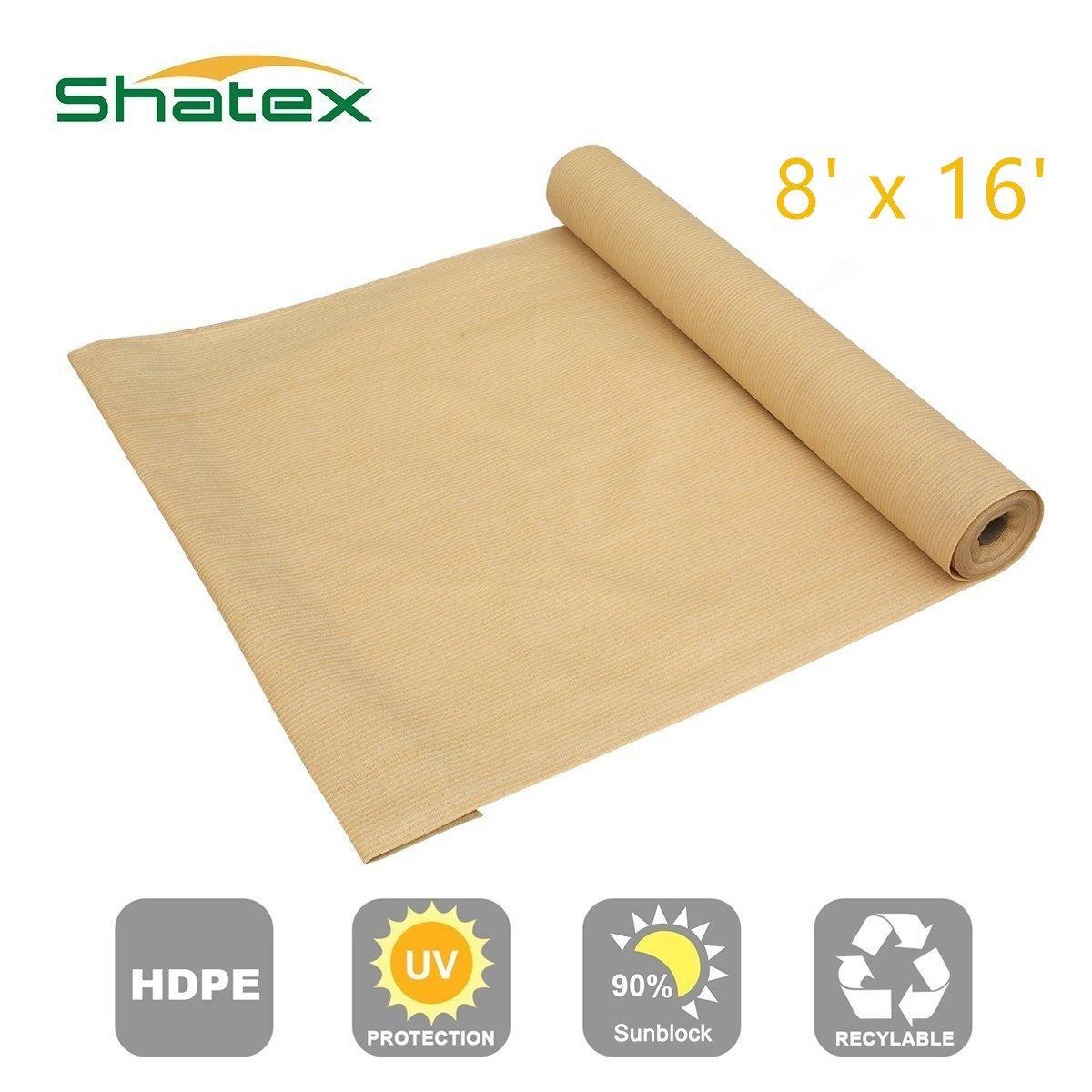 Shatex 90% Sun Shade Fabric for Pergola Cover Porch Vertical Screen 8' x 16', Beige