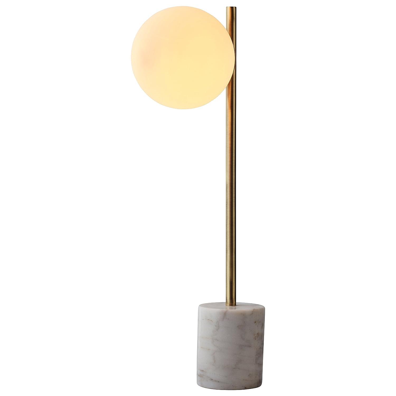 リベットモダンガラスGlobeと大理石テーブルランプLED電球、23