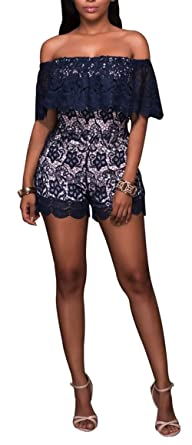 fad5647edf3 Women Girls Sexy Off Shoulder Short Sleeve Grocet Lace Romper Jumpsuit  Shorts Party Club Mini Dress