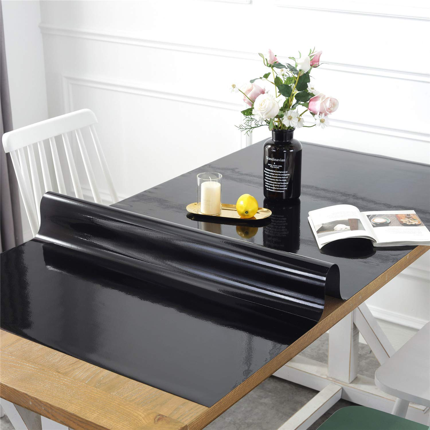 OstepDecor Custom Black Table Protector for Dining Room Table - 60 x 36 Inch Rectangular Plastic Protective Table Pad Kitchen Wood Grain Vinyl Tablecloth Cover by OstepDecor