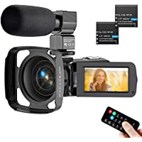 Video Camera Camcorder Digital Video Recorder 2.7K Ultra HD Vlogging Camera 3'' Touch Screen Camcorders with Mic, Remote…