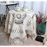 Cotton Crochet Handmade Ribbon Embroidery Towel Square Tablecloths Cover Round 72In